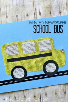 This painted newspaper school bus craft is simple and fun and perfect for preschoolers and Kindergartners who are excited to be starting school this year. Fun back to school crafts, newspaper craft, preschool craft and fall kids craft. School Bus Art, School Bus Crafts, Back To School Crafts, School Fun, School Buses, Fall Crafts For Kids, Art For Kids, Kids Crafts, Holiday Crafts