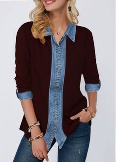 New Arrival | Liligal.com Trendy Tops For Women, Blouses For Women, Stylish Tops, Casual Tops, Collar Shirts, Shirt Blouses, Casual Outfits, Fashion Outfits, Women's Fashion