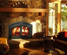 This is gorgeous! I want to put in a wood stove fireplace in my house. Lodges Design, Cabin Homes, Backyard Fireplace, Wood Burning Stove Insert, Wood Stove, New Homes, House, Fireplace, Wood Burning Fireplace Inserts