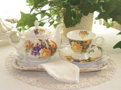 Tea For One--Yellow Roses and Violets