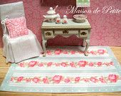 Romantic, traditional Shabby Chic  Cottage style 1:12 Scale Dollhouse Miniature Handmade Vintage rose stripe with green