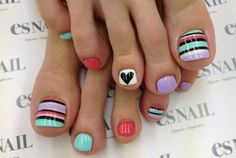 Another fun and trendy looking toenail art design. This design is a mixture of bold and thin lines as well as cute heart shapes all rolled into one. The use of bright colors such as aquamarine, periwinkle, melon, yellow, black and white also makes the design more attractive to look at.