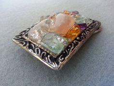 Gemstone belt buckle Multi gemstones healing by EyesofAnastasia