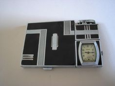 Art Deco cigarette case, lighter and watch