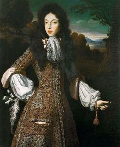 Mary of Modena about 1675.  A sort of cravat at the neck.  dress that looks like a justacorps.  very luxurious material.  tight sleeves above elbow and flare after.  Probably a full bottomed wig. by: Simon Pietersz