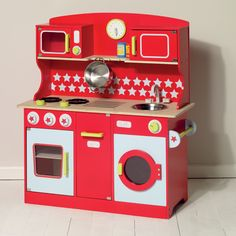 toy kitchen, play kitchen, red kitchen, kids toys, children's kitchen, wooden kitchen toys