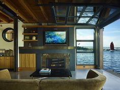living room at the water's edge