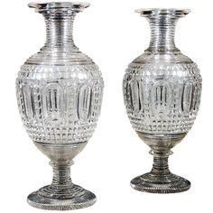Monumental Pair Clear Cut Glass Vases -   French, about 1820  Glass, blown and cut