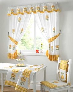 Fabric for Kitchen Curtains . Fabric for Kitchen Curtains . Kitchen Curtains Fabric Was Purchased at Joann Fabrics is Kitchen Curtain Designs, Modern Kitchen Curtains, Kitchen Curtains And Valances, Drapes Curtains, Kitchen Windows, Luxury Curtains, Yellow Kitchen Curtains, Curtain Valances, Small Window Curtains