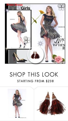 """Sherri Hill 32111 Leopard Print Homecoming Dress"" by evermissjody ❤ liked on Polyvore featuring Sherri Hill, Christian Louboutin, Louis Vuitton and Chrome Hearts"