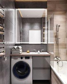 Tiny Laundry Rooms, Laundry Room Design, Bathroom Design Small, Laundry In Bathroom, Bathroom Interior Design, One Room Apartment, Apartment Design, Home Entrance Decor, Bad Styling