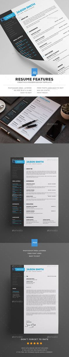 #Resume - Resumes #Stationery Download here: https://graphicriver.net/item/resume/19411176?ref=alena994