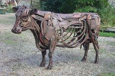 Yard Art Ideas | Irish Moiled Cow‐Found Object Steel‐Harriet Mead