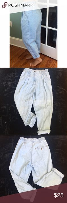 "Vintage Light Wash Mom Jeans Light wash, high waisted mom jeans. Tag says 100% cotton size 8, but these are old so i would say the size is closer to a 3. They have a small waist and a large butt area, (i have a 24"" waist and 32"" hips) these are in excellent condition and have no tears, rips, stains, or smells. They are 29"" in length (when not rolled up) reasonable offers accepted, not American Apparel*** American Apparel Jeans"