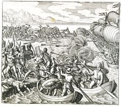 History of Haity: Engraving of the Spanish Battling Against Haitians by Theodor de Bry