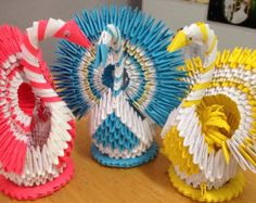 Peacock / Swan 3D Origami by OrigamiPhiLong on Etsy