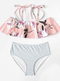 Flower Print Striped Flounce Bikini Set -SheIn(Sheinside)