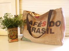 "RECYCLED ""Cafes Do Brasil"" Coffee Bean burlap tote on etsy.com"