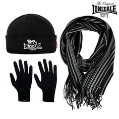 Lonsdale London Winterset Geschenksets Mütze, Schal, Handschuhe Herren Varianten