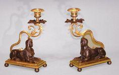A pair of Regency bronze & ormolu Sphinx Candlesticks. British. Circa 1830