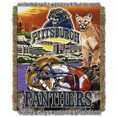 Pittsburgh Panthers NCAA Woven Tapestry Throw (Home Field Advantage) Pitt University, University Of Pittsburgh, University Blue, Pitt Football, College Football, Gold Wall Art, Gold Walls, Tapestry Weaving, Pictures To Paint