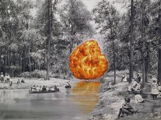 Artist Paco Pomet Subverts Vintage Vacation Photos and Historical Landscapes in His Surreal Oil Paintings