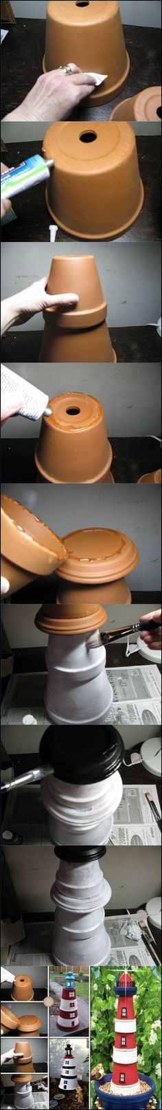 #DIY clay pot lighthouse --> http://wonderfuldiy.com/wonderful-diy-clay-pot-lighthouse/ #lighthouse