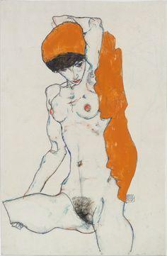 Egon Schiele | Standing Nude with Orange Drapery | The Metropolitan Museum of Art