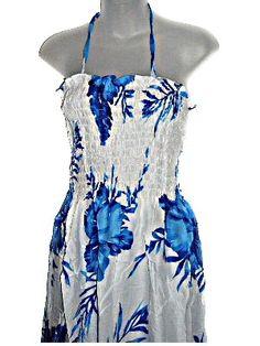 HAWAIIAN BLUE HIBISCUS WHITE SUN DRESS- ONE SIZE « Dress Adds Everyday