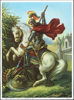 Catholic Picture Art Print St George and The Dragon | eBay