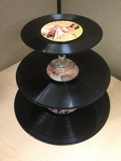 Cupcake or nibbles stand made out of records, perfect rockabilly pin up party decor.