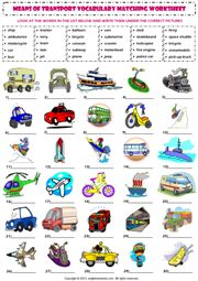 means of transport vocabulary matching exercise worksheet icon