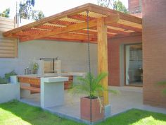 Some beautiful BBQ grill design ideas for your patio will help you to get something out of the ordinary. Now you can give an excellent impression to your patio. This extraordinary idea is one form that you need to design… Continue Reading → Patio Roof, Backyard Patio, Backyard Landscaping, Pergola Roof, Pergola Kits, Pergola Ideas, Design Jardin, Garden Design, House Design