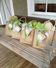 Little Interiors in Marietta, GA uses our burlap totes for these super cute wedding favor bags. http://www.nashvillewraps.com/reusable-bags/jute-tote-bags/c-007845.html