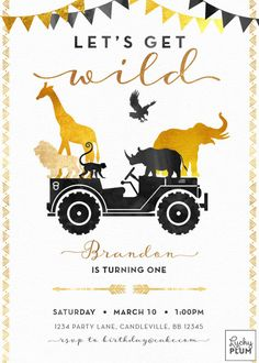 A modern glam updated version of the traditional animal jungle safari theme. Decked with watercolor black and gold foil, this classy jungle boho arrow tribal inspired invitation will be loved by any munchkin. Elephant, lion, giraffe, monkey, rhino and eagle - all wild party animals are invited! Back page included **Please note this design has elements that are designed to look metallic, but no actual metallic ink or foil will be printed on this product H O W I T W O R K S…