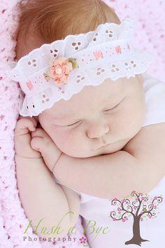 Sweet PeachWhite flower Eyelet Lace baby by HushaByeCreations, $20.00