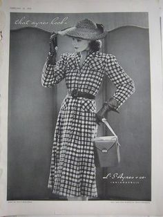 L.S. Ayres vintage fashion ad featuring a checkered dress (1939). #vintage #1930s #fashion #ads http://stores.ebay.com/Dollface-and-Dapper-Vintage-Clothes