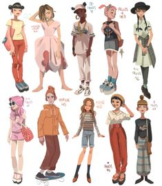 Anna Cattish- I love her illustration characteristic Character Design Cartoon, Character Design References, Character Drawing, Character Concept, Concept Art, Fantasy Character, Animation Character, Character Sketches, Character Design Tips