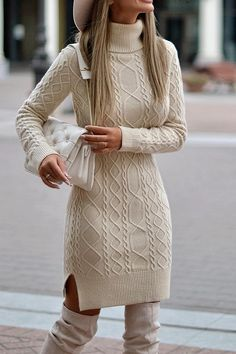 Long Sleeve Turtleneck Above Knee Bodycon Plain Dress – Dearladi Winter Fashion Outfits, Fall Outfits, Autumn Fashion, Casual Outfits, Fashion Dresses, Dresses Dresses, Fashion Spring, Sweater Fashion, Short Outfits
