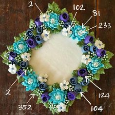 352 cake tutorial Tip Nozzle Guide buttercream flowers roses blue green Royal Icing Flowers, Buttercream Flower Cake, Fondant Flowers, Blue Flowers, Buttercream Flowers Tutorial, Fondant Rose, Spring Flowers, Bolo Floral, Floral Cake