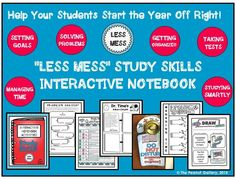 """Start the year off right with the """"Less Mess"""" Study Skills Interactive Notebook. Help your students tackle goal setting, time management, studying smartly, test taking, problem solving and more with my popular """"Less Mess"""" series. LESS MESS always means LESS STRESS for you! ($)"""