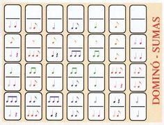 Se han sustituido los puntos dominó por figuras de notas siguiendo el criterio de suma de tiempos o del valor relativo de las notas. Una ... Music Math, Music Classroom, Music Games, Music Lessons For Kids, Music For Kids, Piano Lessons, Music Theory Worksheets, Sheet Music Art, Music And Movement