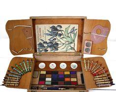 Antique french PAINT BOX couleurs sans danger by RueDesLouves Vintage Paint Colors, Pochade Box, Box Art, Art Boxes, Art Mat, Art Basics, Homemade Art, Artist Supplies, Victorian Art