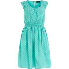 Turquoise polka dot sundress ($44) ❤ liked on Polyvore