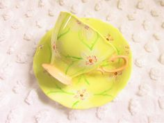 Vintage Royal Albert Crown China Yellow Teacup Hand Painted White Flower 1920s 1930s