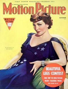 claudette colbert movie magazine covers | Claudette Colbert - Motion Picture - October 1938