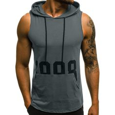 Tank Tops Men Vest Fitness Muscle Print Sleeveless Hooded Bodybuilding Pocket Tightdrying Tops Ginasio Homem Regatas Masculino Size M Color Army green Mens Workout Tank Tops, Athletic Tank Tops, Workout Men, Sweatshirt Homme, Tank Top Herren, Cardio, Style Africain, Sports Trousers, Sports Vest