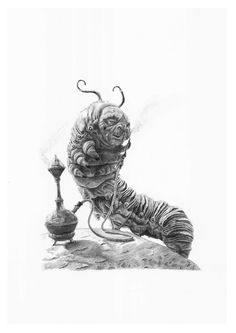 Alica in Wonderland CATERPILLAR pencil drawing by Cultscenes on Etsy