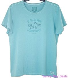 Life Is Good Womens Crusher Tee Dog Cotton Short Sleeve Teal Blue Classic Fit XL #LifeIsGood #BasicTee