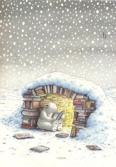 This bear does not hibernate this year, for sure, would rather read!  (ilustración de Hans de Beer)